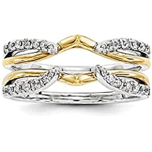 1/4 ct Simulated Diamond Enhancer Solitaire Engagement Ring 14k Two Tone Gold Plated Guard Wrap Jacket