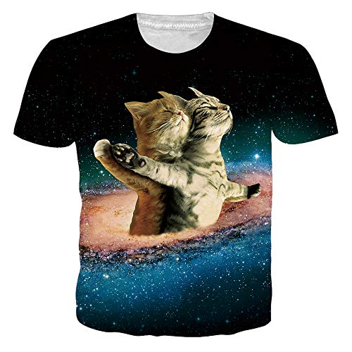 RAISEVERN Unisex Cat T Shirt Lightweight Cool Galaxy Titanic Short Sleeve Funny Space Top Tee