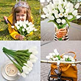 EZFLOWERY 10 Heads Artificial Tulips Flowers Real