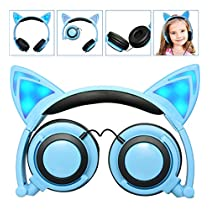 LIMSON Cat Ear Headphones Over Ear Wired Kids Earphones with Foldable LED Light Flashing Compatible Headset LX-L107