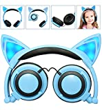 LIMSON Kids Headphones Cat Ear Headphone with LED Light, Foldable Wired Over Ear Gaming Headset,Blinking Glowing Cosplay Cute Earphone Compatible with Computer Tablet,Apple and Android Phone (Blue)