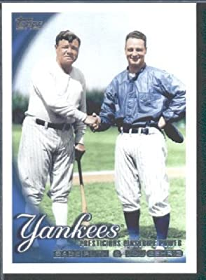 2010 Topps Baseball Card # 637 Babe Ruth - Lou Gehrig - New York Yankees ( Classic Combo ) MLB Trading Card in Protective Screwdown Case!