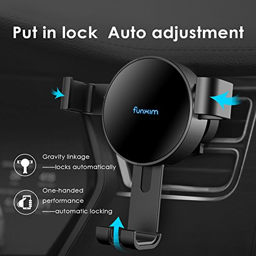 Funxim Fast Wireless Car Charger X7, Air Vent Car Mount Holder Cradle Fast Charge Qi Standard for iPhone 8 iPhone 8 Plus iPhone X Samsung Galaxy S8 S8+ S7 S7 Edge S6 Edge Compatible Qi Enabled Mobile by Funxim (Image #1)