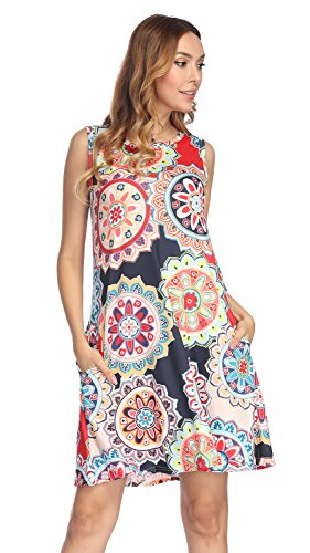 Demetory Women's Casual Vintage Sleeveless Scoop Neck Plus Size Damask Print Sundress with Pocket (Red, -