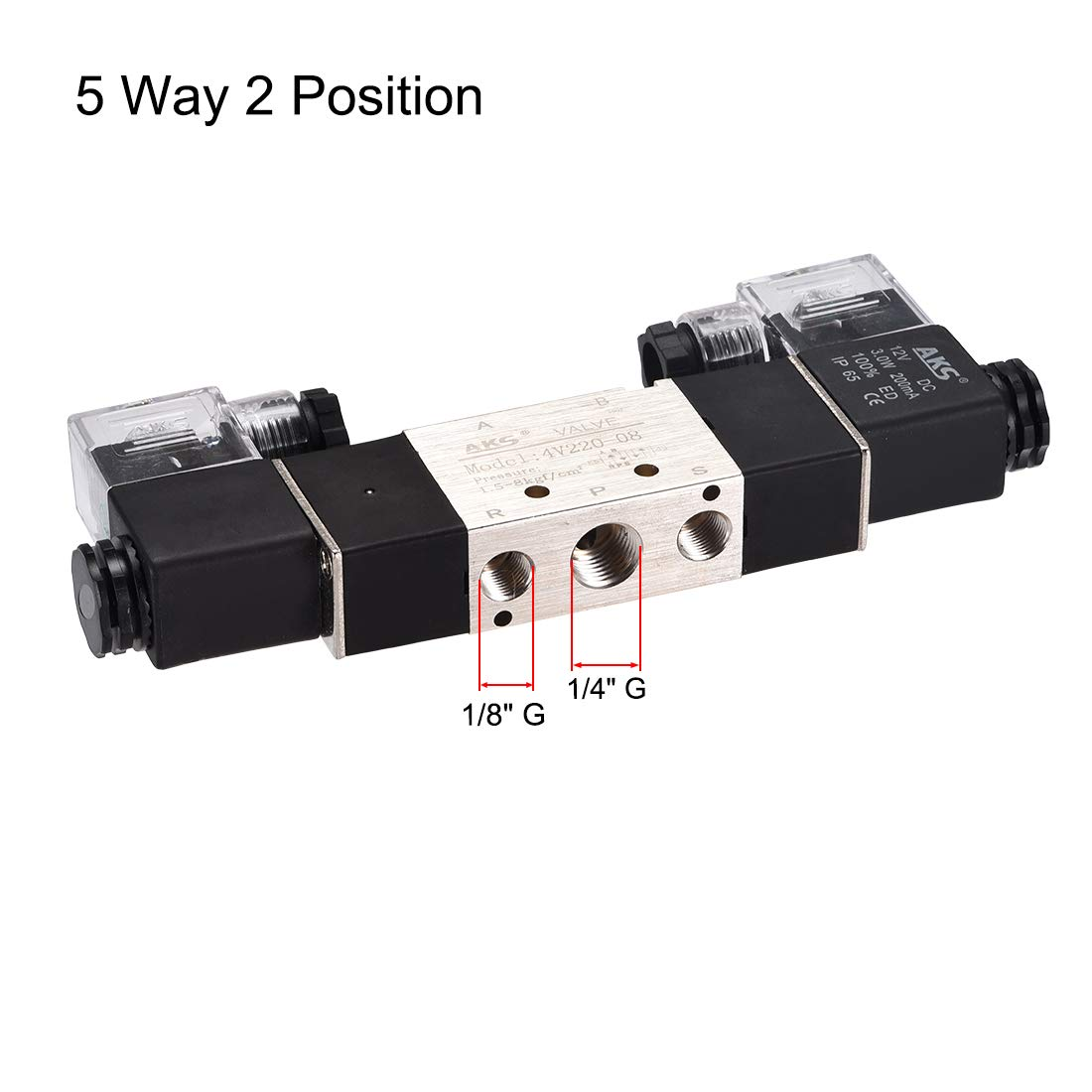 uxcell DC 12V 5 Way 2 Position 3//8 inchesPT,Pneumatic Air Solenoid Valve,Double Electrical Control,Internally Piloted Acting Type,Red Light,4V320-10