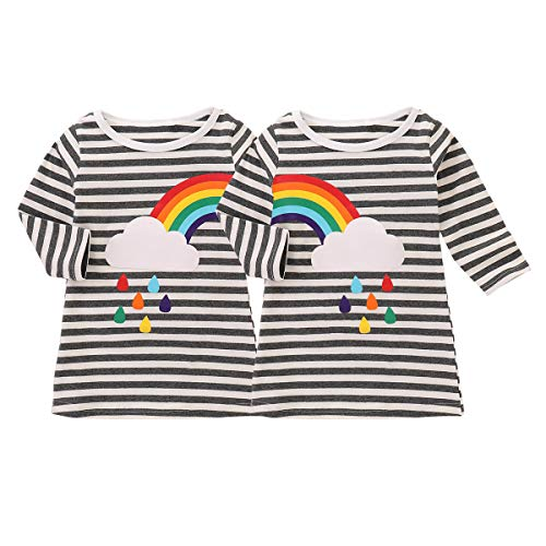 Kids' Girls 2 Pack Tee T-Shirts Rainbow Striped Printed Long Sleeve Tops Clothes (Rainbow, 5T-6T)