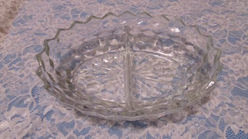 AMERICAN WHITEHALL GLASS CRYSTAL DIVIDED 2 PART OVAL (Part Divided Relish Dish)