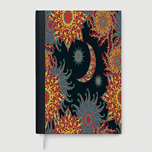 (Thick Notebook/Journal,Sun and Moon,Tropical Floral Swirls Ornate Sky Elements Curly Exotic Galaxy Representation Decorative,96 Ruled Sheets,B5/7.99x10.02 in )
