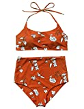 Verochic Women's Vintage Floral Print Push up High Waisted Bikini Set Bathing Suit (Red, Medium)