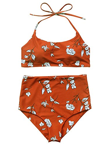 tage Floral Print Push Up High Waisted Bikini Set Bathing Suit (Red, Small) ()