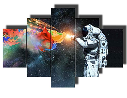 - Multi Panel Wall Art Native American Decor NASA Paintings Wall Decorations for Living Room Spaceman Pictures 5 Piece Canvas Artwork Modern Giclee Framed Gallery-wrapped Ready to Hang(60''Wx40''H)