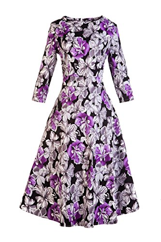 Vogtage 1950's Long Sleeve Retro Floral Vintage Dress with Defined Waist Design XL Size -