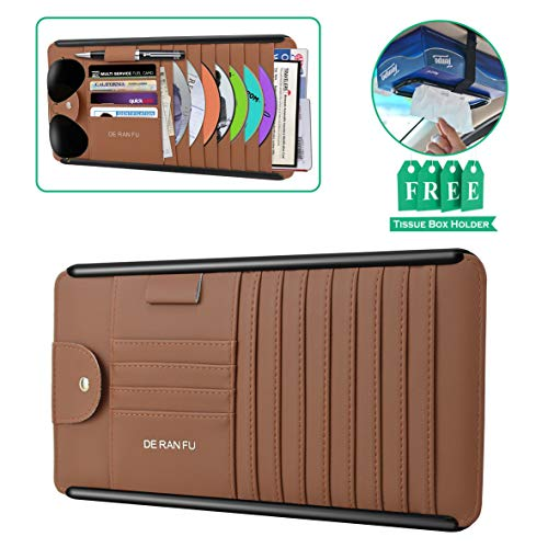 CD Visor Holder, Car Sun Visor Organizer with Sunglass Clip and Card Slots Luxury Leather with Velcro Auto Storage Pouch for Registration, Insurance, Pen, Documents, free Tissue Box Holder ()