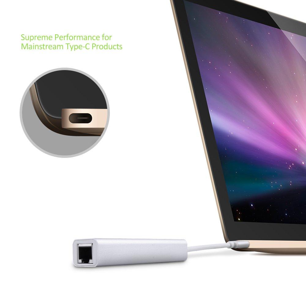 OMARS Hub USB C a 3 porte USB 3.0 con adattatore Ethernet per i dispositivi USB Tipo C inclusi il New Macbook, Macbook Pro 2016, ChromeBook Pixel 2015 e altri (3 * USB3.0 + Ethernet)