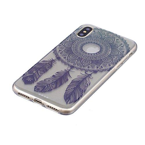 Coque iPhone X Carillons de vent Premium Gel TPU Souple Silicone Transparent Clair Bumper Protection Housse Arrière Étui Pour Apple iPhone X / iPhone 10 (2017) 5.8 Pouce + Deux cadeau