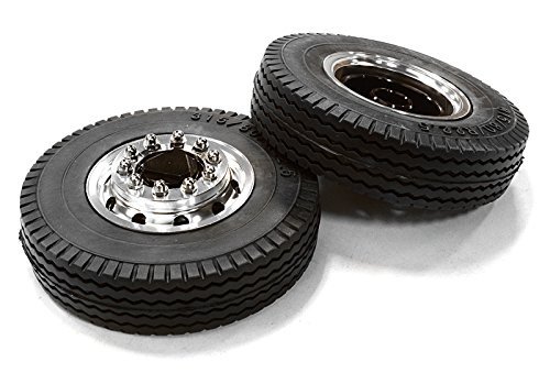 Integy RC Model Hop-ups C26581BLACK Machined Alloy T6 Front Wheel & XE Tire Set for Tamiya 1/14 Scale Tractor Trucks ()