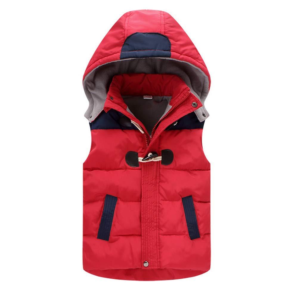 LJYH Boys Girls Winter Down Vest with Hood Unisex Kids Puffer Waistcoat Jacket