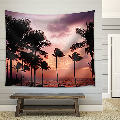 Tropical Landscape with Palm Trees at Sunset Fabric Wall