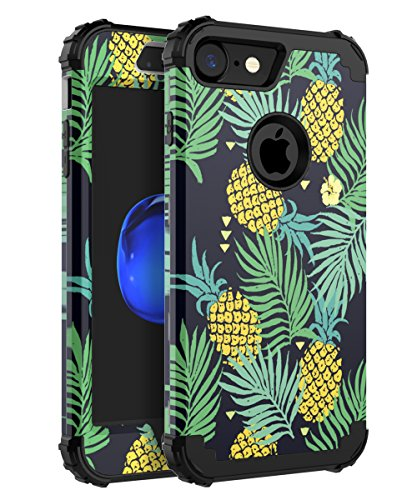 Miubox Case iPhone 7,Three Layer Bumper Heavy Duty Anti-Scratch Non-Fingerprint Comfortable Holding Cute Protective Case Girls Women Fit iPhone 7, Black Pineapple
