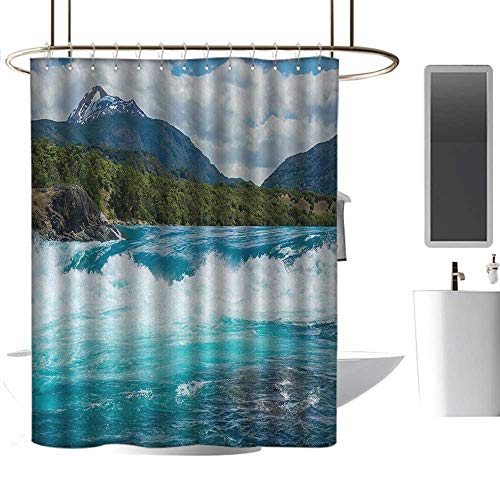 Shower Curtain Hooks Nature,Flowing River Rapids Cloudy Snowy Mountain Forest Trees Wildlife Theme,Blue Green White Gray,Hand Drawing Effect Fabric Shower Curtains 72
