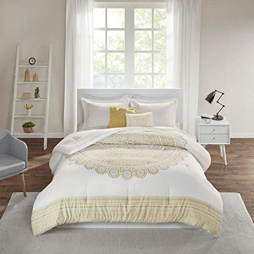 HNU 5 Piece Eclectic Medallion Metalic Gold Comforter Set, Modern Radiant Touch Embroidered Details Full-Queen Boho Bedding, Beautiful Large Medallion Print Striped Border Soft Elegant Bed Set
