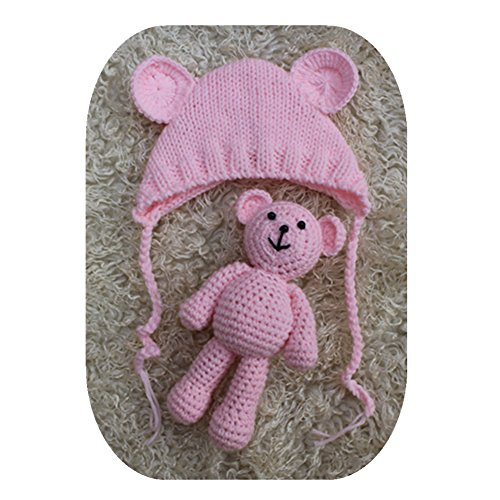 (Pinbo Newborn Baby Photography Prop Bear Hat Beanie with Bear Dolls Accessories (Light Pink))