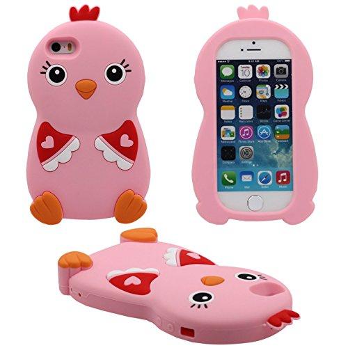 Apple iPhone 5 5S Coque Case, silicone Ultra Doux Souple Cartoon Animal Petit Poulet Forme soulagement Conception Housse de Protection pour iPhone 5 5S iPhone SE 5C ( Rose )