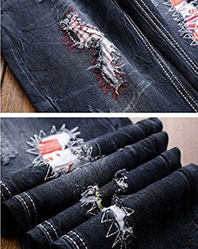 Lavaggio Trend Jeans Men's Distressed Battercake Denim Patches 181 blau Ricamo Pantaloni Classico Basic Comodo Esterno Pants Holes Uomo Da Cher Vintage Straight Ssig wTUTx