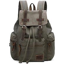 Canvas Backpacks Vintage Rucksack Casual Leather Army Kipling Knapsack 19L