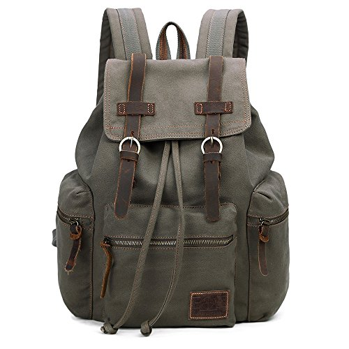 GINGOOD Vintage Canvas Backpack Outdoor Hiking Travel Rucksack 19L Army Green #220