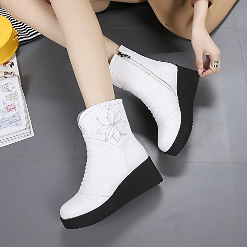 Short Thirty Thick 6Cm Round Documentary Martin Slope KHSKX Shoes Boots Heeled Shoes Cake Boots With Female High White five Bottom q4TYwRU
