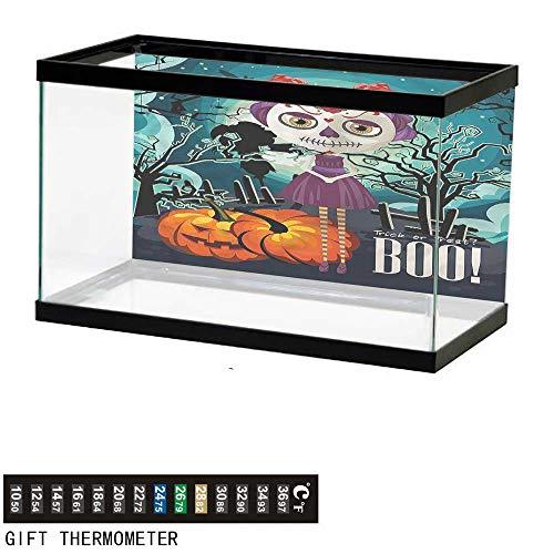 bybyhome Fish Tank Backdrop Halloween,Girl Sugar Skull Makeup,Aquarium Background,30