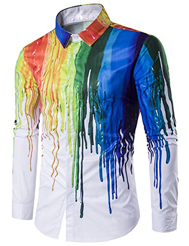 Men's Casual Stylish 3D Printing Rainbow Watercolor Paint Long Sleeve Dress Shirt