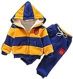 Toddler Boy's Stripe Hoodies Coats Autumn Winter Outfit Suit Sets(Coat 1+Pant 1) Yellow 3T