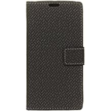 Case for Alcatel A3 [PU Leather], BasicStock Woven Stand Function Magnetic Closure Wallet Case with Money and Card Slots Flip Cover Screen Protector for Alcatel A3 (Black)