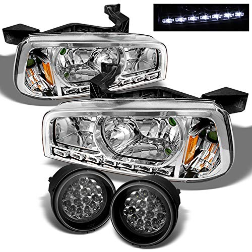 For 06-10 Dodge Charger Chrome 1 Piece LED Headlights w/Corner Signal Lamps + Full LED Fog Lights Lamps