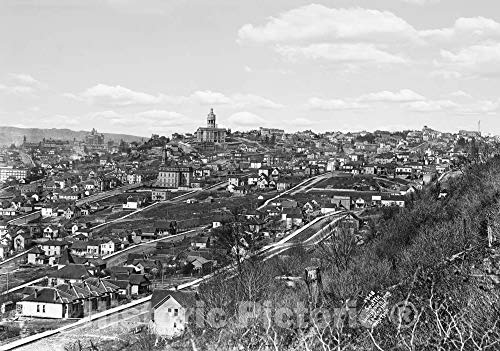 Restored Black & White Photo - Historic Seattle, Washington - Overview from Beacon Hill, c1910 | 36in x 24in ()
