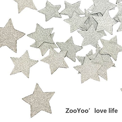 Star Table Confetti - ZOOYOO Glitter Paper Confetti Star, Wedding Party Decor and Table Decor,Star confetti Glitter Paper Confetti, DIY Kits,400pcs,Star Dots (Silver)