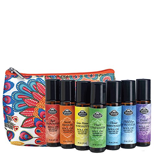 Chakra Complete Pre-diluted Roll On Set with Travel Bag made with pure essentials oilsby Fabulous Frannie