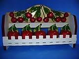 Cherry 3-D Cherries Wood Spice Rack & 5 Jars Set ~New~