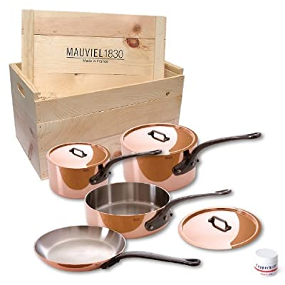 Mauviel M'heritage 6502.01wc 250c Crated 7-Piece Set with Cast Iron Handles