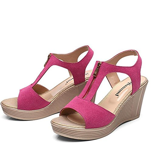 Girls L@YC Women Summer Sandals Waterproof Platform Leather High Heeled Fish Mouth Large Slope With 2017 Shoes , pink , 34