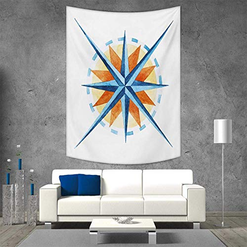 smallbeefly Compass Tapestry Wall Hanging 3D Printing Watercolor Directions North South East West Windrose Pathfinding Work of Art Beach Throw Blanket 40W x 60L INCH Burnt Sienna Blue