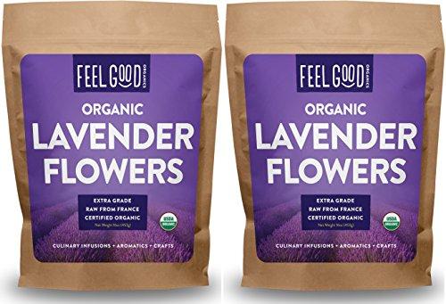 Organic Lavender Flowers Dried - Perfect for Tea, Baking, Lemonade, DIY Beauty, Sachets & Fresh Fragrance - 100% Raw From France - 2x Jumbo 16oz Resealable Bags - by Feel Good Organics