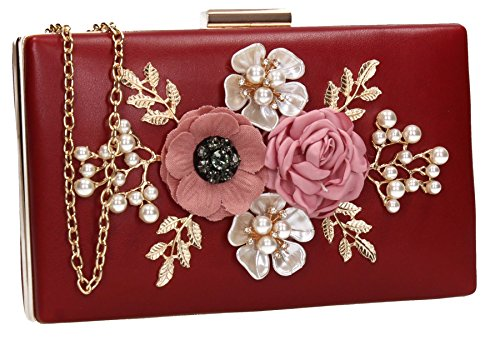 Valery 3d Floral Faux Leather Womens Party Prom Wedding Ladies Box Clutch Bag - SWANKYSWANS Burgundy