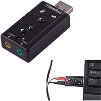 Placa de Som USB Externa Com 7.1 Canais Ajustes DJ Efeitos Sonoros