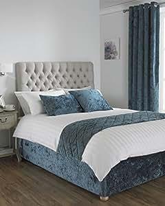 "DEEP Pile Crushed Velvet Teal Canadian Full Bed WRAP Scarf 135CM X 190CM (4'6"" X 6'3"")"