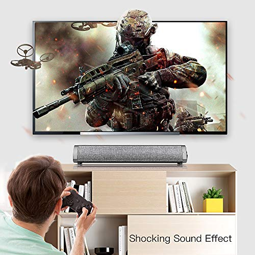 Sanwo Bluetooth Speaker Bar Wired and Wireless Home Theater TV Triangle Speaker Bar with Remote Control,TF Card- Surround Sound Bar for TV/PC/Phones/Tablets, 2 X 5W Compact Sound Bar 2.0 Channel