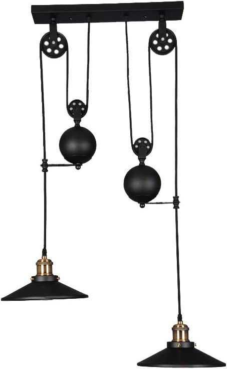 WINSOON Black Iron Painted Creative Pulley Style 2-Lights Vintage Pendant Lighting for Kitchen Island Bar 2 Heads