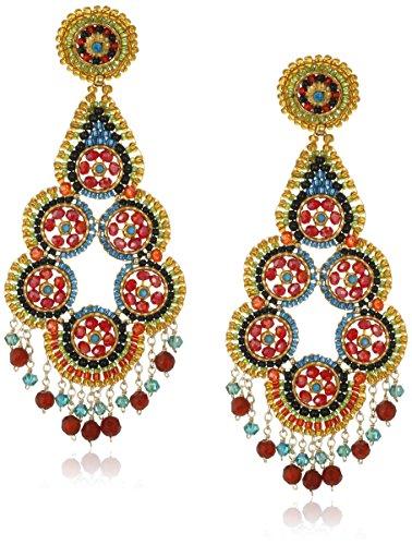 Opal Tourmaline Earrings - Miguel Ases Rubelite and Fire Opal Hydo-Quartz Multi-Flower Center Drop Earrings